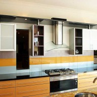 Coloured glass splashback